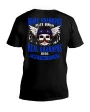 Motorcycle Skull Blue Grandfather Papa V-Neck T-Shirt thumbnail