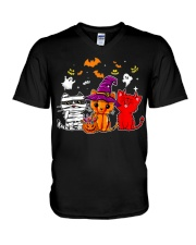 Cat Happy Halloween Cute mummy witch demon cat V-Neck T-Shirt thumbnail