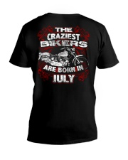 July Birthday Motorcycle V-Neck T-Shirt thumbnail