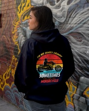 Sometimes I'm On My Motorcycle Retro Hooded Sweatshirt lifestyle-unisex-hoodie-back-1