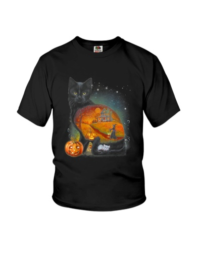 Black Cat - Halloween inside t-shirt Funny witch