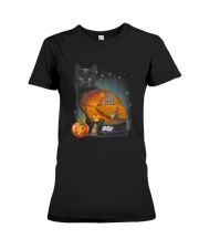 Black Cat - Halloween inside t-shirt Funny witch  Premium Fit Ladies Tee thumbnail