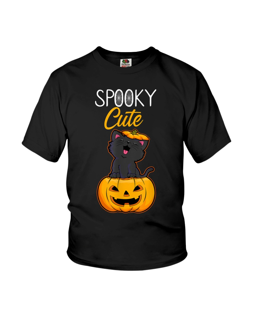 Spooky Cute Black Cat Halloween Pumpkin T-Shirt Youth T-Shirt