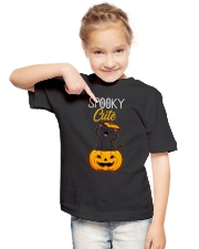 Spooky Cute Black Cat Halloween Pumpkin T-Shirt Youth T-Shirt lifestyle-youth-tshirt-front-2