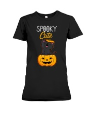 Spooky Cute Black Cat Halloween Pumpkin T-Shirt Premium Fit Ladies Tee thumbnail