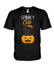 Spooky Cute Black Cat Halloween Pumpkin T-Shirt V-Neck T-Shirt thumbnail