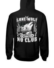 Lone Wolf No Club Motorcycle Hooded Sweatshirt back