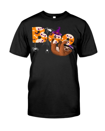 Boo Halloween T-shirt With Sloth witch Hat