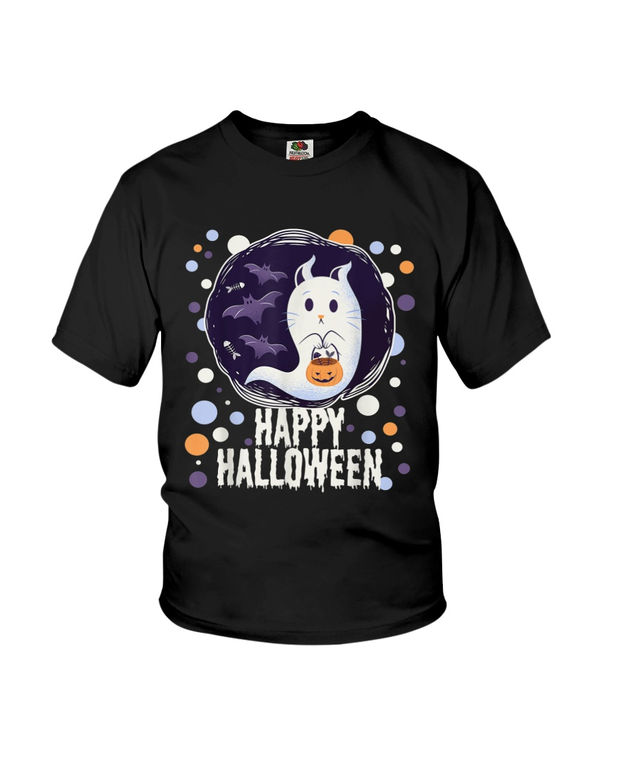 Happy Halloween Ghost Cat Bat Pumpkin T-Shirt Youth T-Shirt