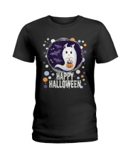 Happy Halloween Ghost Cat Bat Pumpkin T-Shirt Ladies T-Shirt thumbnail