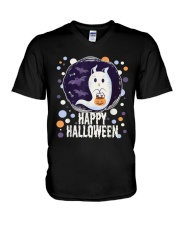 Happy Halloween Ghost Cat Bat Pumpkin T-Shirt V-Neck T-Shirt thumbnail