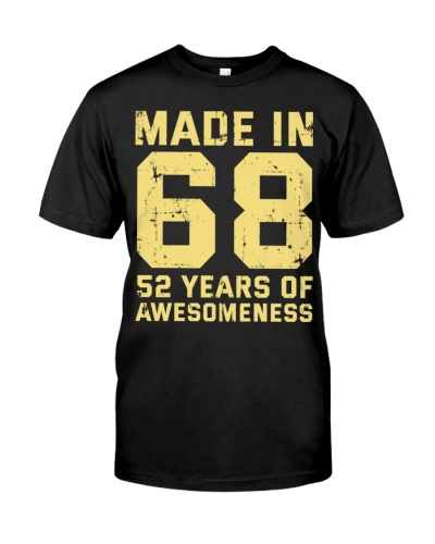 Made In 68 52 Years Of Awesomeness Gift