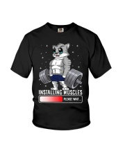 Funny Cat Weightlifting Gym Fitness Workout Lover  Youth T-Shirt front