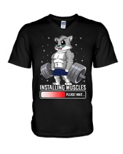 Funny Cat Weightlifting Gym Fitness Workout Lover  V-Neck T-Shirt thumbnail