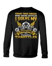 Solve My Problems Twisting Throttles Biker Crewneck Sweatshirt thumbnail