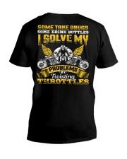 Solve My Problems Twisting Throttles Biker V-Neck T-Shirt thumbnail