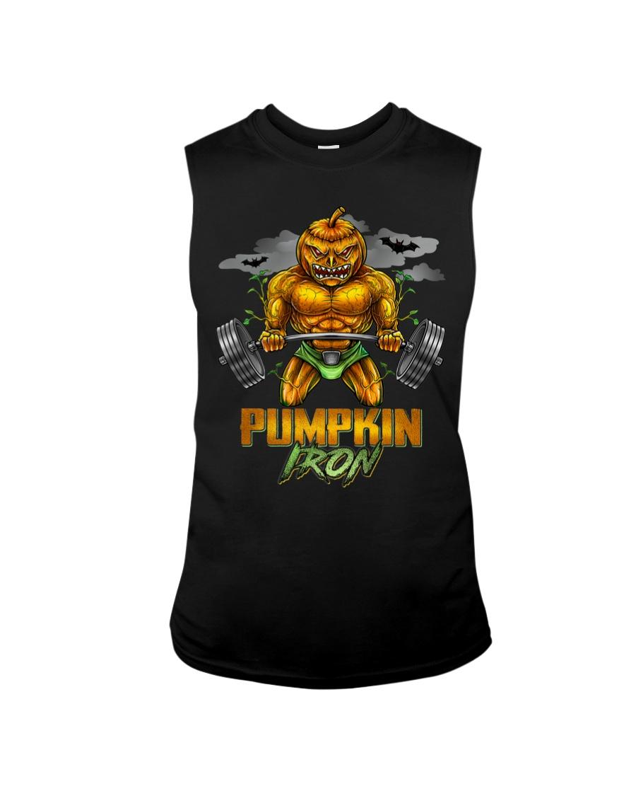 Halloween Gym Workout Pumpkin Iron Motivation Men  Sleeveless Tee