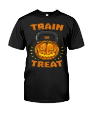 Train Or Treat Pumpkin Kettlebell Halloween Weight Premium Fit Mens Tee thumbnail