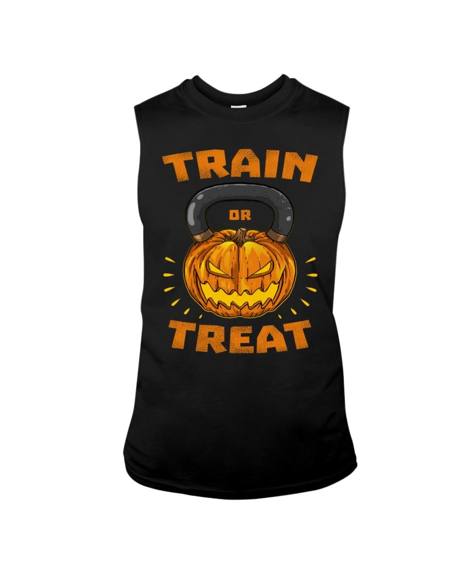 Train Or Treat Pumpkin Kettlebell Halloween Weight Sleeveless Tee