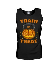 Train Or Treat Pumpkin Kettlebell Halloween Weight Unisex Tank thumbnail