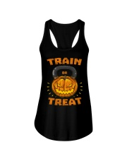 Train Or Treat Pumpkin Kettlebell Halloween Weight Ladies Flowy Tank thumbnail