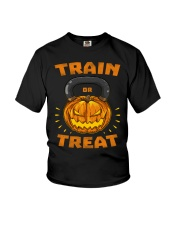 Train Or Treat Pumpkin Kettlebell Halloween Weight Youth T-Shirt thumbnail