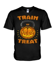 Train Or Treat Pumpkin Kettlebell Halloween Weight V-Neck T-Shirt thumbnail