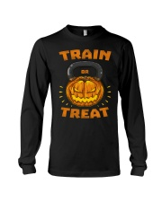 Train Or Treat Pumpkin Kettlebell Halloween Weight Long Sleeve Tee thumbnail
