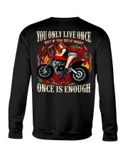 Motorcycle Rose Red One Life Pin Up Girl Crewneck Sweatshirt thumbnail