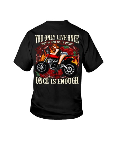 Motorcycle Rose Red One Life Pin Up Girl