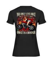 Motorcycle Rose Red One Life Pin Up Girl Premium Fit Ladies Tee thumbnail