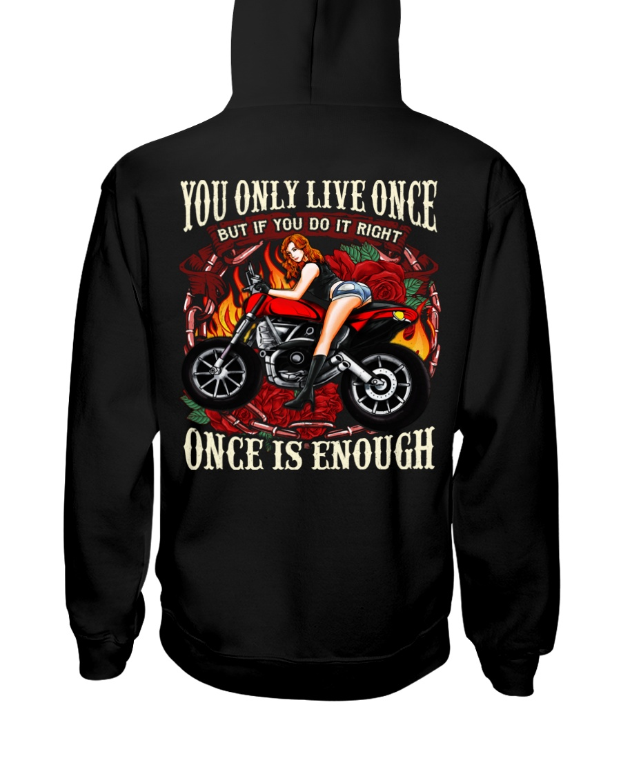 Motorcycle Rose Red One Life Pin Up Girl Hooded Sweatshirt