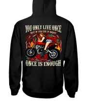 Motorcycle Rose Red One Life Pin Up Girl Hooded Sweatshirt back