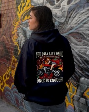 Motorcycle Rose Red One Life Pin Up Girl Hooded Sweatshirt lifestyle-unisex-hoodie-back-1