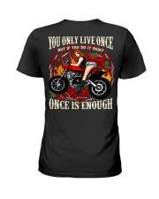 Motorcycle Rose Red One Life Pin Up Girl Ladies T-Shirt thumbnail