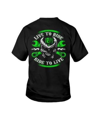 Live To Ride To Live Skull Biker