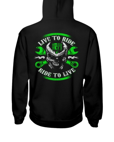 Live To Ride To Live Skull Biker