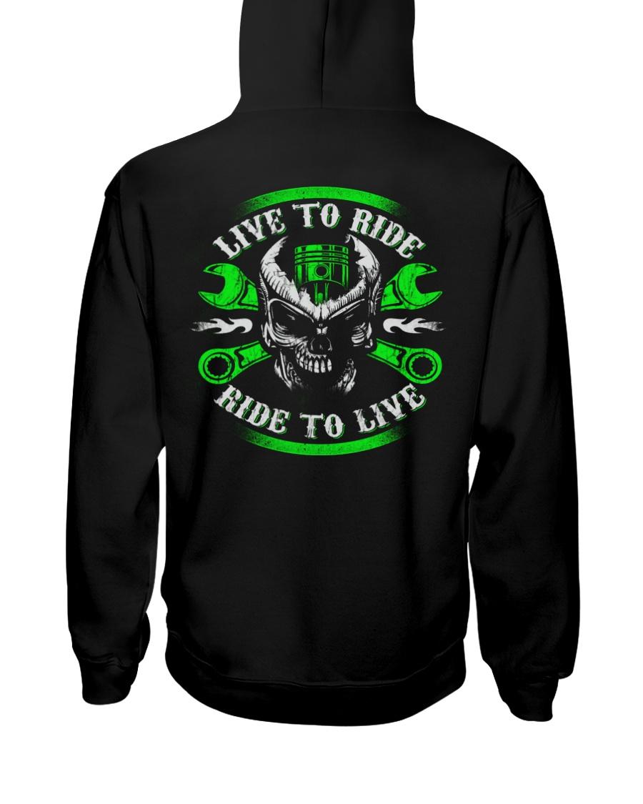 Live To Ride To Live Skull Biker Hooded Sweatshirt