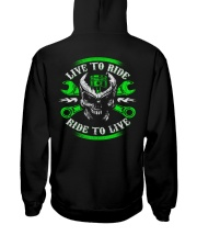 Live To Ride To Live Skull Biker Hooded Sweatshirt back