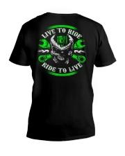 Live To Ride To Live Skull Biker V-Neck T-Shirt thumbnail