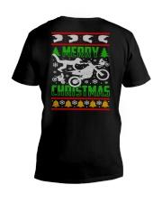 Motorcycle Biker Ugly Christmas V-Neck T-Shirt thumbnail