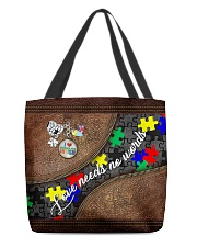 I love someone with Autism All-over Tote front