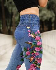 Breast Cancer Awareness Denim Pattern Print High Waist Leggings aos-high-waist-leggings-lifestyle-11