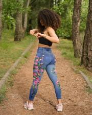 Breast Cancer Awareness Denim Pattern Print High Waist Leggings aos-high-waist-leggings-lifestyle-17