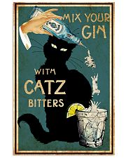 Black Cat Mix Your Gin with Catz Bitters Decorative Wall Art Poster No Frame