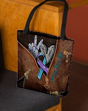 Peace love life Leather pattern print All-over Tote aos-all-over-tote-lifestyle-front-02