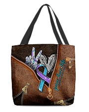 Peace love life Leather pattern print All-over Tote front
