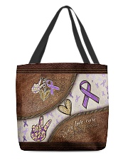 Peace Love Cure Leather Pattern Print  All-over Tote back