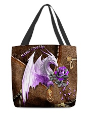 Never Give Up Leather Pattern Print  All-over Tote back