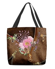 Never Give Up Leather Pattern Print All-over Tote front